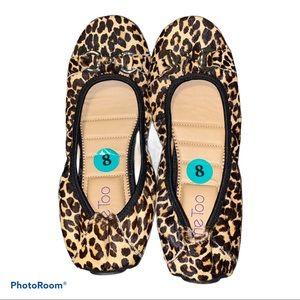 Me Too leah cheetah faux fur ballerina flats